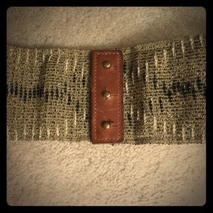 Anthropologie Leather and fabric corset belt